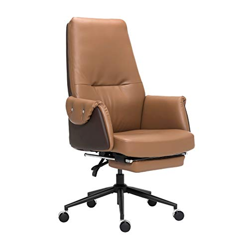 Leather Executive Chair Adjustable Reclining Swivel Office Desk Chair with Hidden Footrest Padded Armrest 350lbs Load-Bearing Strong Iron Frame Ergonomic High Back Master Computer Desk Chair – Brown
