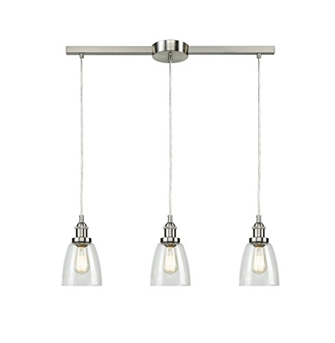 Eul Industrial Brushed Nickel 3 Light Kitchen Island Lighting Linear Pendant With Clear Glass Buy Online In Bahamas At Bahamas Desertcart Com Productid 69429110
