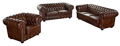 JVmoebel Ledersofa Sofagarnitur Sofa Couch Polster 3+2+1 Chesterfield Sitz Garnitur...