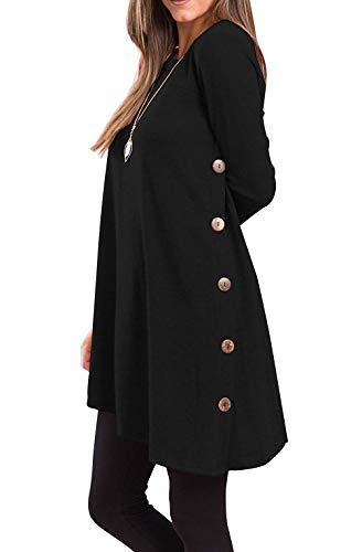 Yidarton Womens Long Sleeve Jumper Dress Casual Knitted Button Tunic Pullover Sweater Tops (Black, XXL)
