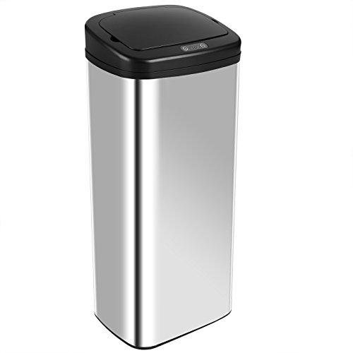 Deuba Sensor Mülleimer I 50L I viereckig I Silber I Edelstahl I mit Bewegungssensor und Deckel