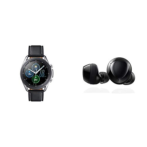 Samsung Galaxy Watch 3 (41mm, GPS, Bluetooth) Smart Watch - Mystic Silver (US Version) with Samsung Galaxy Buds+ Plus, True Wireless Earbuds, Black – US Version