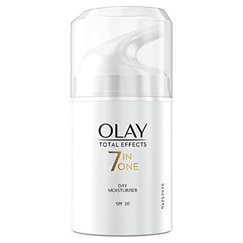 Olay Total Effects 7-in-1 Tägliche Feuchtigkeitscreme Für Frauen Mit LSF 30 50ml, Tagescreme mit Vitamin E, B3 und B5 für Pflege & Schutz der Haut, Gesichtscreme Damen (Verpackung kann variieren)