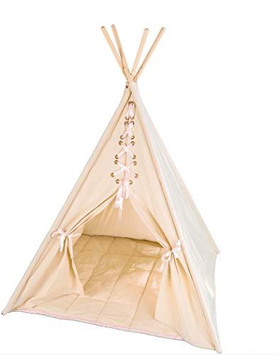 pelzitoys Tipi Kinder Zelt Mädchen Natur, Bodenmatte, Stoffzelt-Prinzessin, Segeltuch-Spielzelt für Kinderzimmer, Indianerzelt drinnen draußen, 160 cm hoch