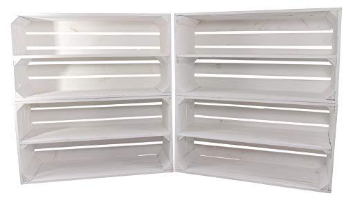 Moooble Holzkisten weiß   breites Regal mit Mittelbrett   68x40x31 cm   Obstkiste, Sideboard, Schuhregal für drinnen und draußen (4)