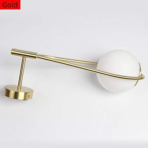 LED wandlamp tennisracket wandlamp indoor slaapkamer decoratie verlichting melkglas lampenkap met G9 gloeilamp goud/zwart-goud_warm wit (2700-3500K)