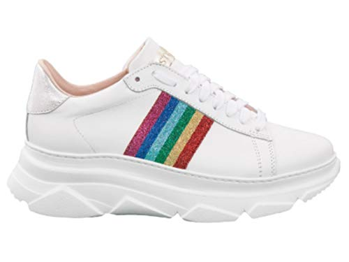 Stokton Damen Rainbow 758D Sneaker, Weiß - Vitello Bianco Rainb - Größe: 38 EU