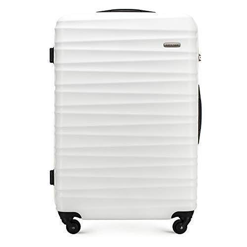 Stabiler Großer koffer Trolley Koffer Reisekoffer von Wittchen Weiß ABS Hartschalen Trolley 4 rollen Kombinationsschloss