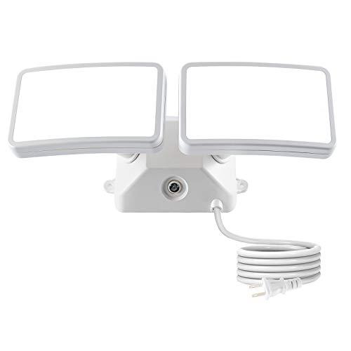 FAGUANGAO Dusk to Dawn LED Security Light,18W Photo Sensor Flood Light,5000k Daylight,1600lm, IP65 Waterproof,Adjustable 2 Heads Wall Light for Garage, Porch, Yard,White