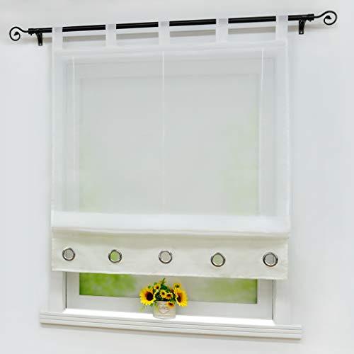 Yujiao Mao Voile Raffrollo Moderner Einfachheit Stil Zierösen Raffgardinen Raffrollo mit Schlaufen 1er-Pack, Weiß-Beige, BxH 140x155cm