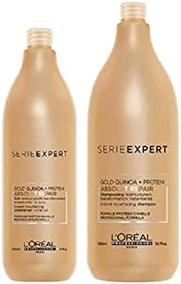 L'Oreal Professional Serie Expert Gold Quinoa Protein Absolut Repair Shampoo 1.5L & Conditioner 1L Duo Pack
