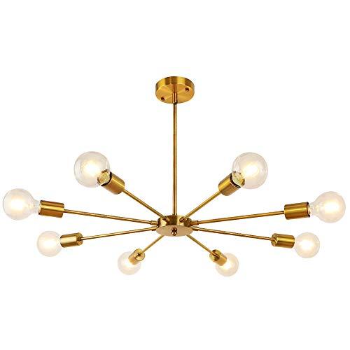 LynPon Sputnik Kronleuchter, Einstellbare Höhe mit 4 Stangen, 8-Flammig Messing Gold Pendelleuchte Metall für Wohnzimmer Schlafzimmer Küche