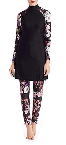 FOKULUNDA Traje de baño modesto para mujer traje de baño musulmán cobertura completa ropa de playa Burkinis Tankin, F1., M
