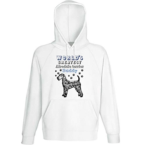 teesquare1st Men's Airedale Terrier - Daddy b White Hoodie Size Large