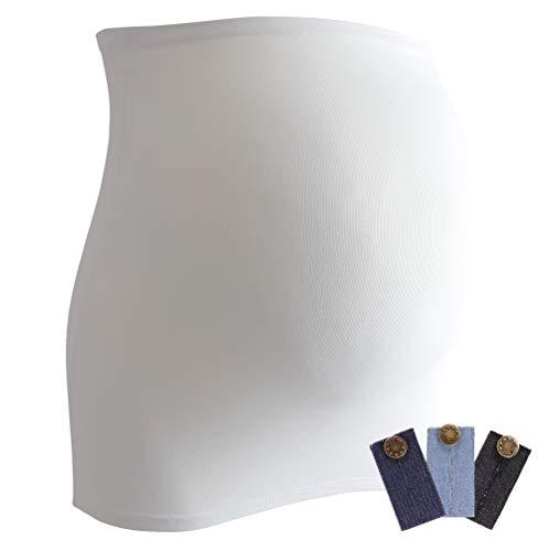 Mamaband Grossesse Bande ventrale pour la boule de bébé + 3 extensions Jean – Chauffe-dos et rallonge de t-shirts pour femmes enceintes – Mode élastique - Blanc - Medium