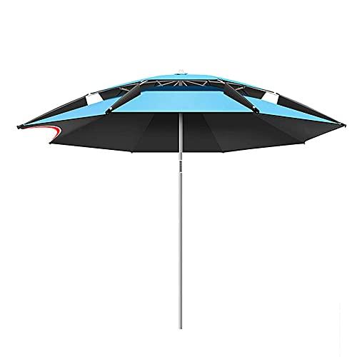 ZHIRCEKE UV-Schutz Sonnenschirm einstellbar200 cm,Polyester Blau Gartenschirm Ampelschirm Strandschirm Wasserabweisende Bespannung knickbar Outdoor Deck Strandurlaub Angeln,S