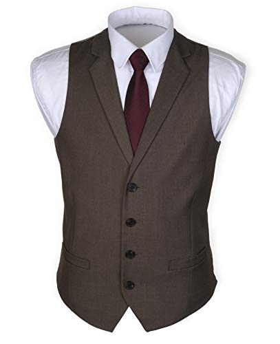Ruth&Boaz Men's 2Pockets 4Buttons Business Tailored Collar Suit Waistcoat (S, Brown)
