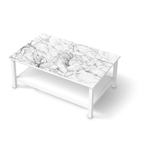 creatisto Möbelfolie selbstklebend passend für IKEA Hemnes Couchtisch 118x75 cm I Möbelaufkleber - Möbel-Sticker Aufkleber Folie I Deko Wohnung für Schlafzimmer und Wohnzimmer - Design: Marmor weiß