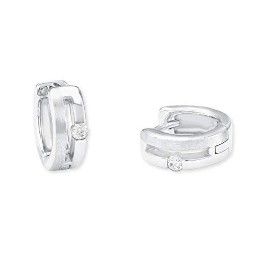 amor Creole für Damen 925 Sterling Silber teilmattiert Zirkonia weiß