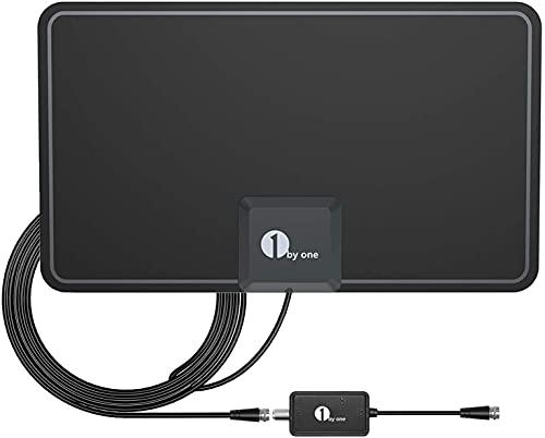 Antena DVB-T2, 1byone 200 km de alcance, antena digital HD TV y antena interior digital para 1080P 4K, antena con amplificador