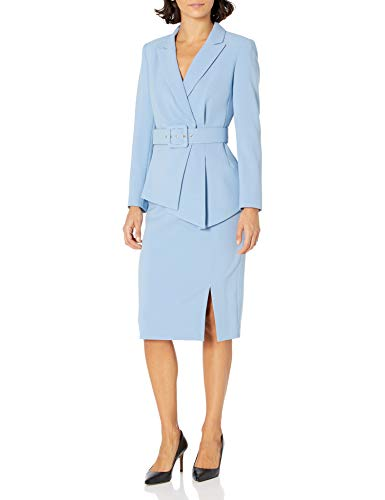 Tahari ASL Women's Belted Notch Collar Jacket with Pencil Skirt Set Suit, Forever Blue, 14