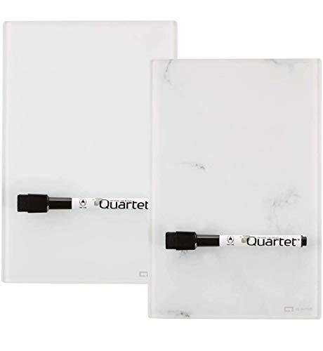 Quartet Glass Desktop Notepad, 9' x 6', Whiteboard, Dry Erase Surface, Marble/White,2 Pack (GDP96)