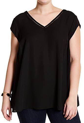 Daniel Rainn DR2 Women's Plus Size Trim Inset Blouse Black (3X)