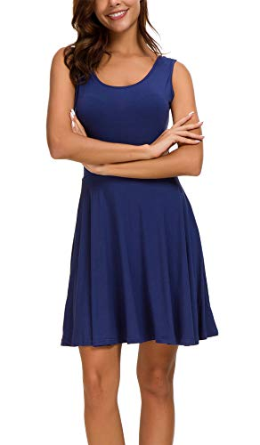 KorMei KorMei Damen Ärmelloses Beiläufiges Strandkleid Sommerkleid Tank Kleid Ausgestelltes Trägerkleid Knielang Blau XL