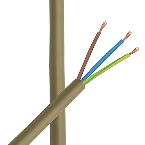 3m Kabel Gold 3 x 0,75mm² PVC isolierte Leitung 3G Leuchtenkabel Lampenkabel Strom-Kabel Anschlusskabel