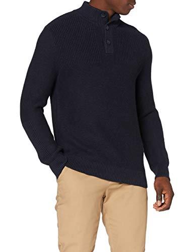 Marca Amazon - MERAKI Jersey de Algodón con Cuello a Botones Hombre, Azul (Navy Denim), L, Label: L