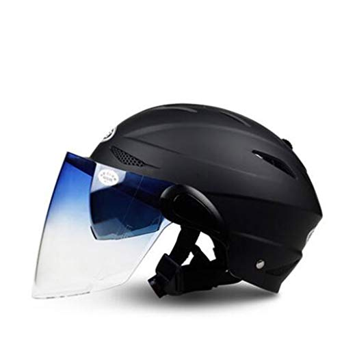 ZJJ Helm- Mode-Unisex-Helm, Regen- und UV-Schutzhelm, Doppelscheibe (Farbe : Matte Schwarze, größe : 17x25cm)