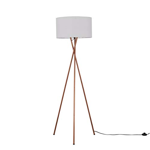 Modern Copper Metal Tripod Floor Lamp with a Pale Grey Cylinder Shade