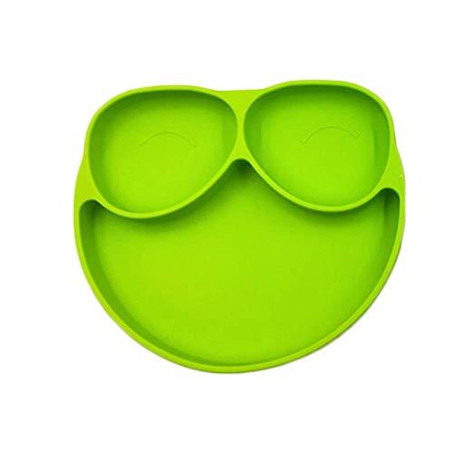 Batchelo Juego de vajilla infantil con bandeja de alimentación de bebé, plato de silicona con ventosa, cuenco antivuelco, con 3 rejillas para niños, 17 x 20 x 2,5 cm, color verde