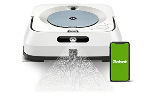 iRobot Braava jet m6 (m6134) WLAN-fähiger Wischroboter mit Präzisions-Sprühstrahl, Nasswischen und Trockenfegen, Sprachassistenten-kompatibel, Imprint-Kopplungstechnik, Reinigt nach Objekten
