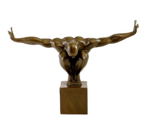 Kunst & Ambiente - Moderne Bronzefigur - Der Athlet - signiert Milo - Echte Bronze Figur - Sport Skulptur - Turnerfigur