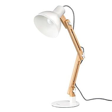 tomons DL1001W Wood Swing Arm Desk/Designer Table Lamp, Reading Lights, Study/Work/Office/Bedside Nightstand Lamp, White