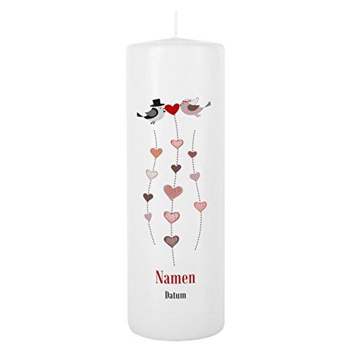 Herz & Heim® Kerze Stumpenkerze zur Hochzeit mit Gratis Aufdruck der Namen und Datum 250/80mm Brenndauer ca. 120 h Blanche Weiß