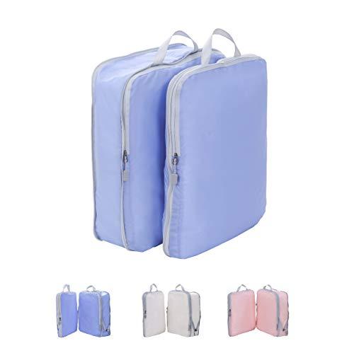 圧縮できるトラベルポーチ 超軽量 大容量 Lサイズ 2点セット 旅行 出張 スーツケース整理 衣類収納 ファスナー圧縮 スペース節約 パッキングキューブ (ブルー)