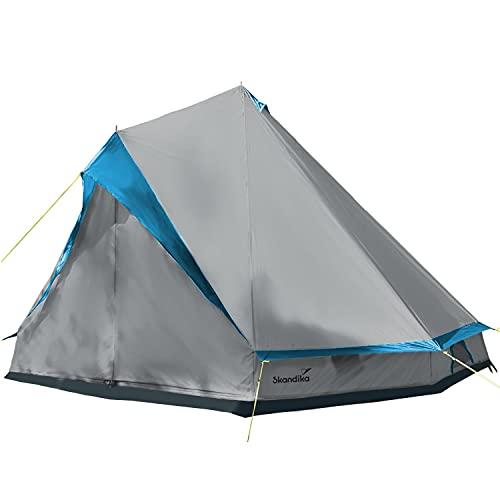 Skandika Tipii II Zelt für 8 Personen   Outdoor Tipi mit abnehmbarem Zeltboden, Moskitonetz, Stahl-Gestänge, 2,5 m Stehhöhe, 3000 mm Wassersäule   Indianerzelt, Partyzelt, Festivalzelt (grau)