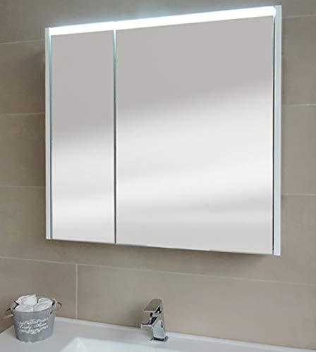 Specchiera specchio bagno pensile contenitore 2 ante, fascia led, cm.67x70x15