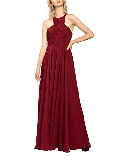 APART Fashion Damska sukienka szyfonowa, sukienka imprezowa, bordowy, 36 PL