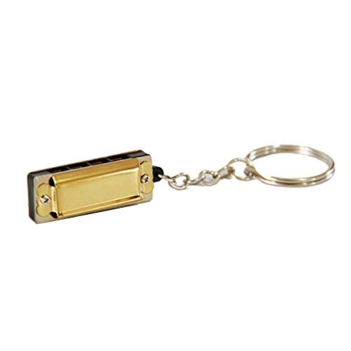 CCAN Bunte Harmony -Halskette 8-Ton Mundharmonika Diatonische 4-Loch-Harmonika-Blau-Anhänger-Halskette Musikinstrument (Farbe : Gold)