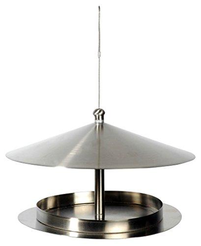 """Luxus-Vogelhaus 11600 Rundes Design-Futterhaus \""""Silberglanz\"""" aus Edelstahl mit Draht zum Aufhängen"""