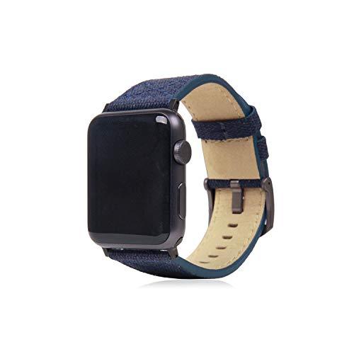 SLG Design Apple Watch 42mm 44mm用 バンド キャンバス地 本革 Wax Canvas ネイビー アップルウォッチ ベ...