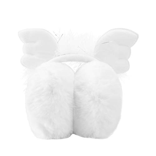 KESYOO Kinder Mädchen Süße Ohrenschützer im Freien Winter Wärmer Plüsch Ohrenschützer Ohrenwärmer Stirnband mit Flügeln Weiß