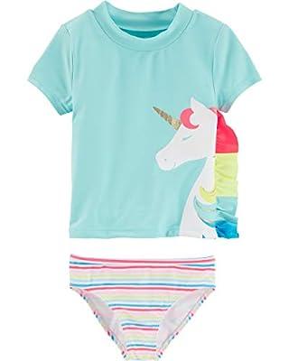 Carter's Girls' Baby Rashguard Swim Set, Unicorn, 18 Months