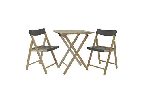 Tramontina Balkonset Potenza, 3-teilig, Bistroset, Tisch mit 2 Stühlen, Gartenmöbel, klappbar, Anthrazit