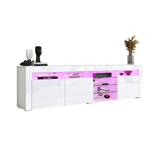 Senvoziii LED TV Stand - High Gloss Sideboard TV Cabinet Entertainment with 3 Doors and Glass Shelves for Living Room Furniture - White
