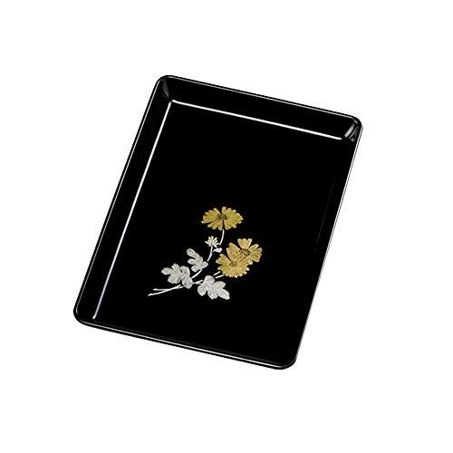紀州塗り 8寸 24cm 木質 切手盆 菊