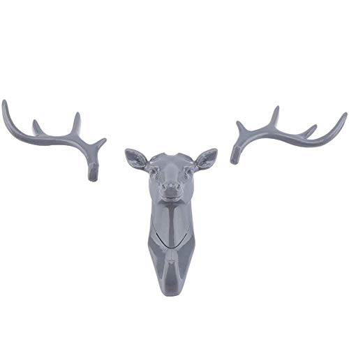 BANNAB Deer Head Shape Hook Hanger American Style Animals Reindeer Antler Multi-Purpose Wall Mount Rack Holder for Home Hanging Ornaments